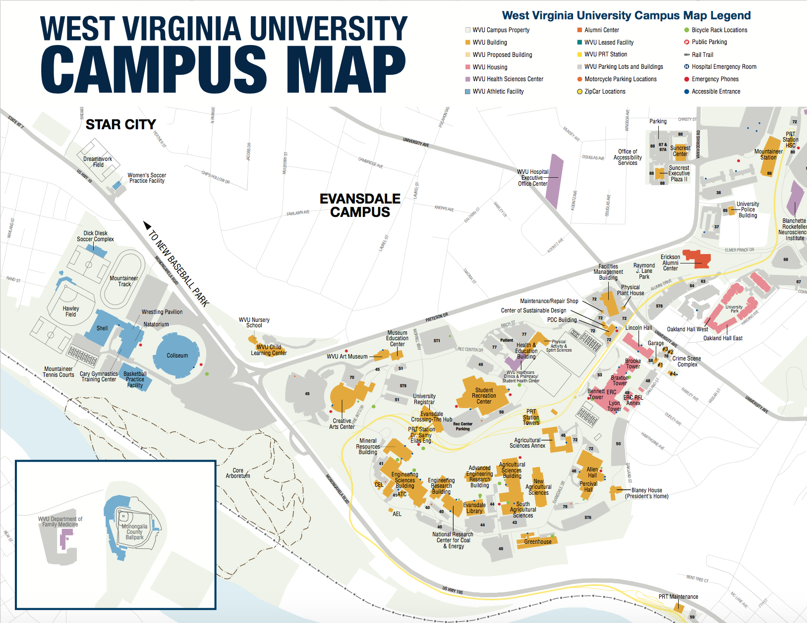 Wvu Campus Map Grab an Evansdale campus map to see one of our three campuses in  Wvu Campus Map
