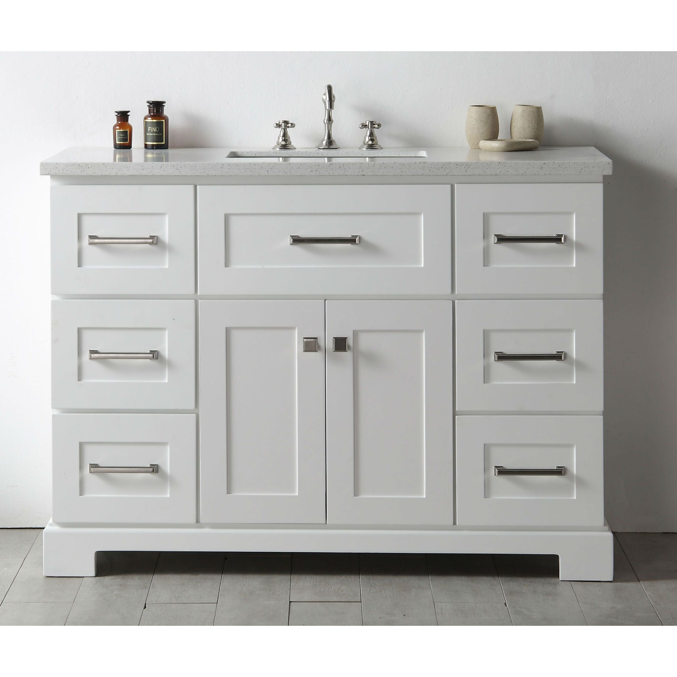Legion Quartz Top White 48-inch Single Bathroom Vanity | Single ...
