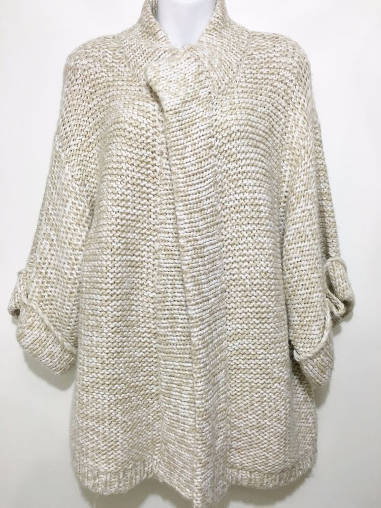 Kensie Pretty Womens M Beige White Chunky Knit Wrap Cardigan ...