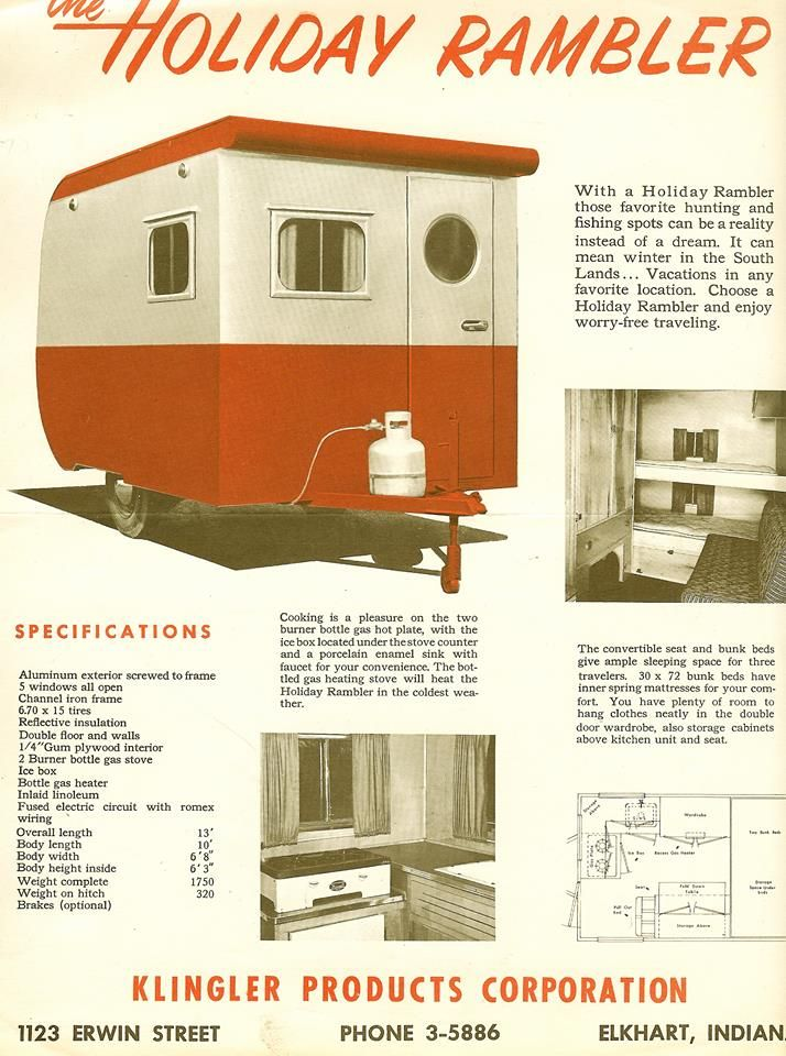 First Holiday Rambler Brochure Circa 1953 Holiday Rambler Vintage Travel Trailers Vintage Camper