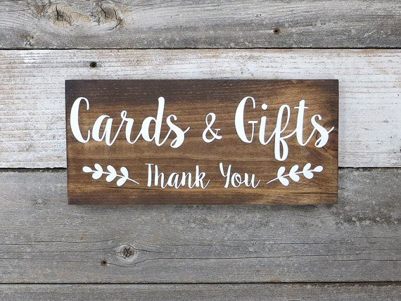 "Thank You Card Wedding Gift: Rustic Hand Painted Wood Wedding Sign ""Cards & Gifts"