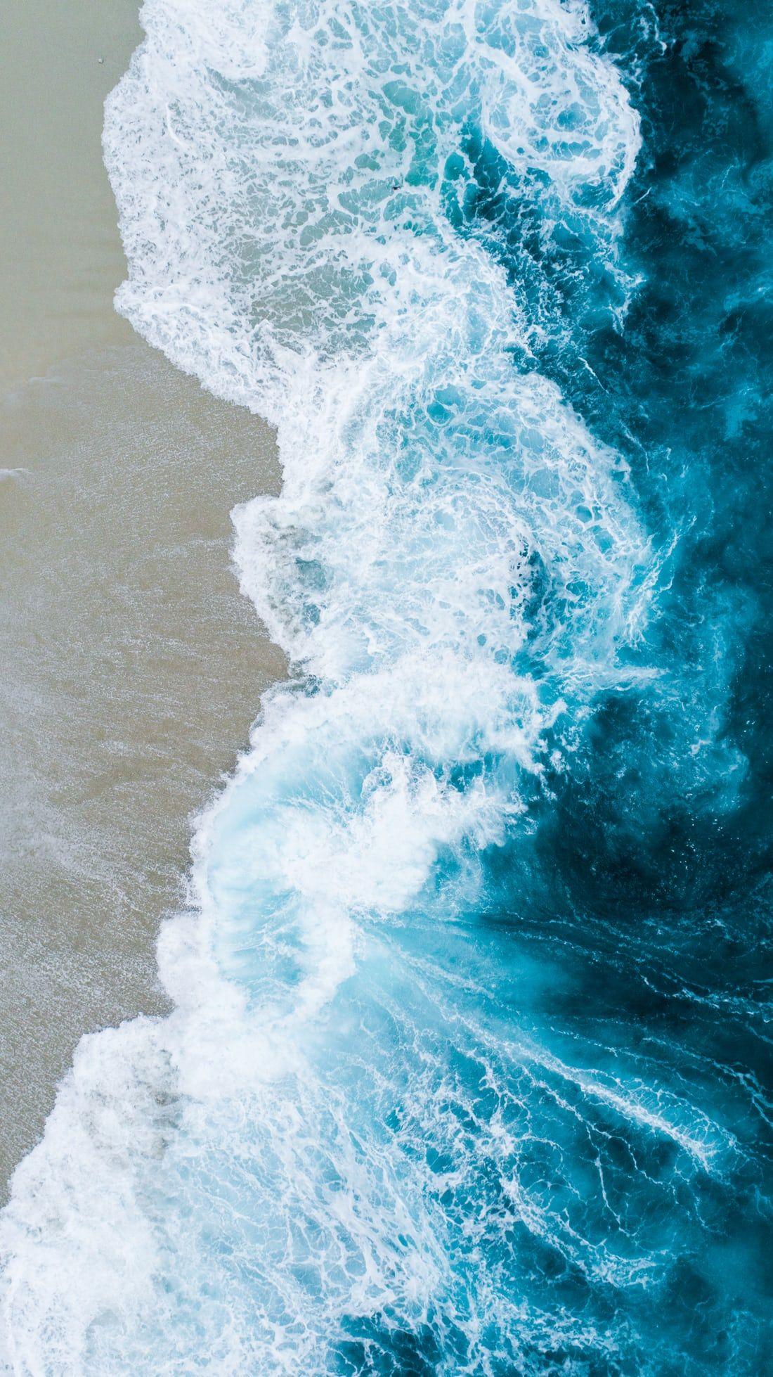 Body Of Water On Beach Shore Blue Wallpaper Iphone Ocean Wallpaper Waves Wallpaper
