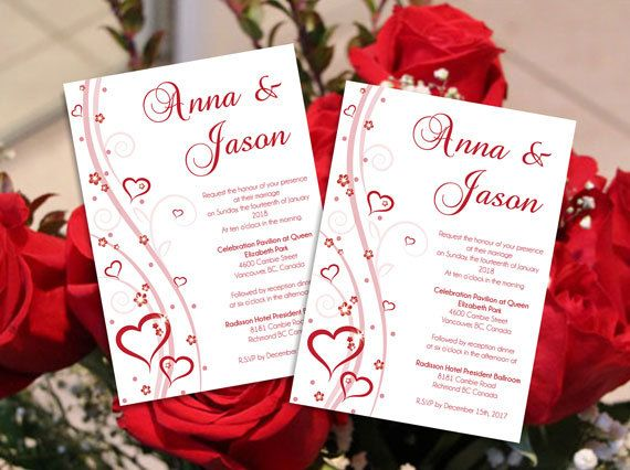 DIY Printable Editable Wedding Invitation Card Microsoft Word Template - Red Heart Romance for Weddings and Valentines Day Events