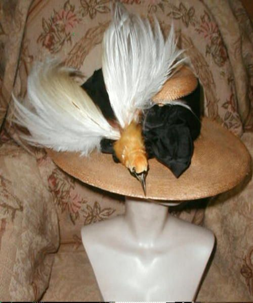 52840a8e482 GIGANTIC Edwardian BIRD OF PARADISE Straw HAT,Wide Brim,Fancy Silk  Ribbon,Bow L