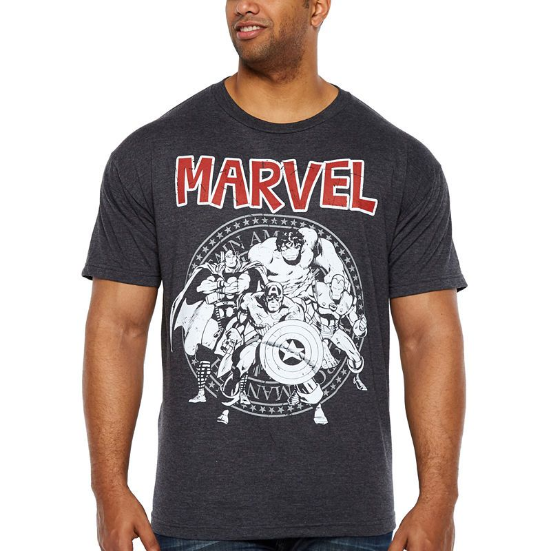 7b10ed831 Avengers Group Seal Short Sleeve Avengers Graphic T-Shirt-Big and Tall.  Avengers Group Seal Mens Crew Neck ...