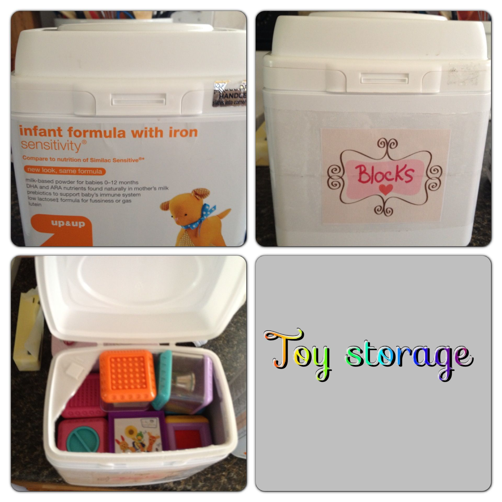 Toy Storage For Ellie S Baby Toys From Old Formula Container Formula Containers Baby Formula Baby Formula Containers