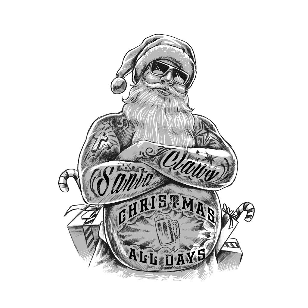 Bad Santa Claus illustration by Executor. The black and white sketch ...