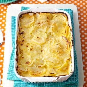 Simple Au Gratin Potatoes  - I used red potatoes, sliced with skins on, Colby-jack cheese, 1.5 cups skim milk 1.2 cup half&half, topped with more shredded cheese and panko....so easy and delish!!!