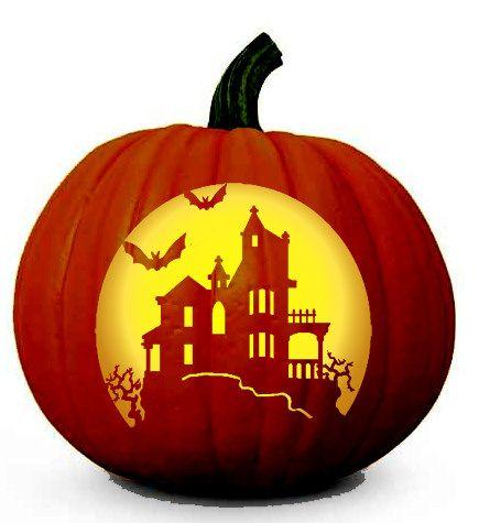 Haunted house pattern free scary halloween pumpkin for Spooky owl pumpkin stencil