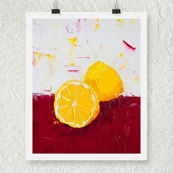 Lemon Print, Wall Art, Gift for Her, Home Decor, Fine Art Print ...