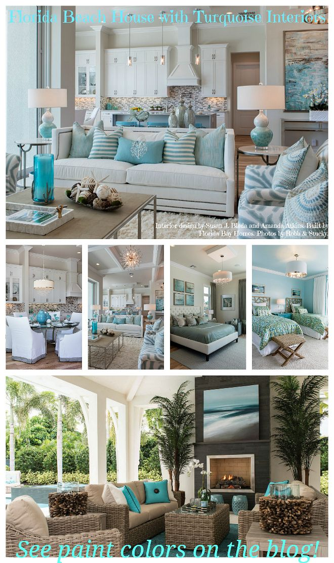 Florida Living Room Design Ideas: Florida Beach House With Turquoise Interiors