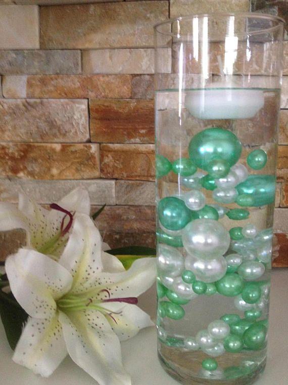 80pc Unique Floating Pearls Decor Seafoam Greenwhite Pearls The