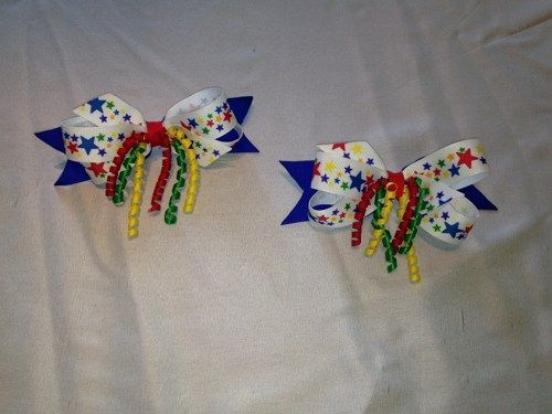 Medium sized primary colored hairbows | Sew_Craftastic - Accessories on ArtFire