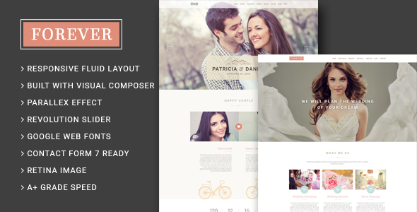 Forever Wedding Couple Wedding Planner Agency Wordpress Theme