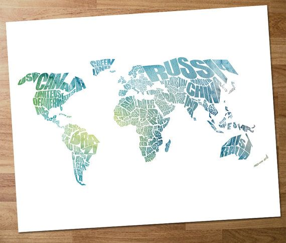 World Word Map A Typographic Word Map Of The Countries By Inkofme - Word map with countries