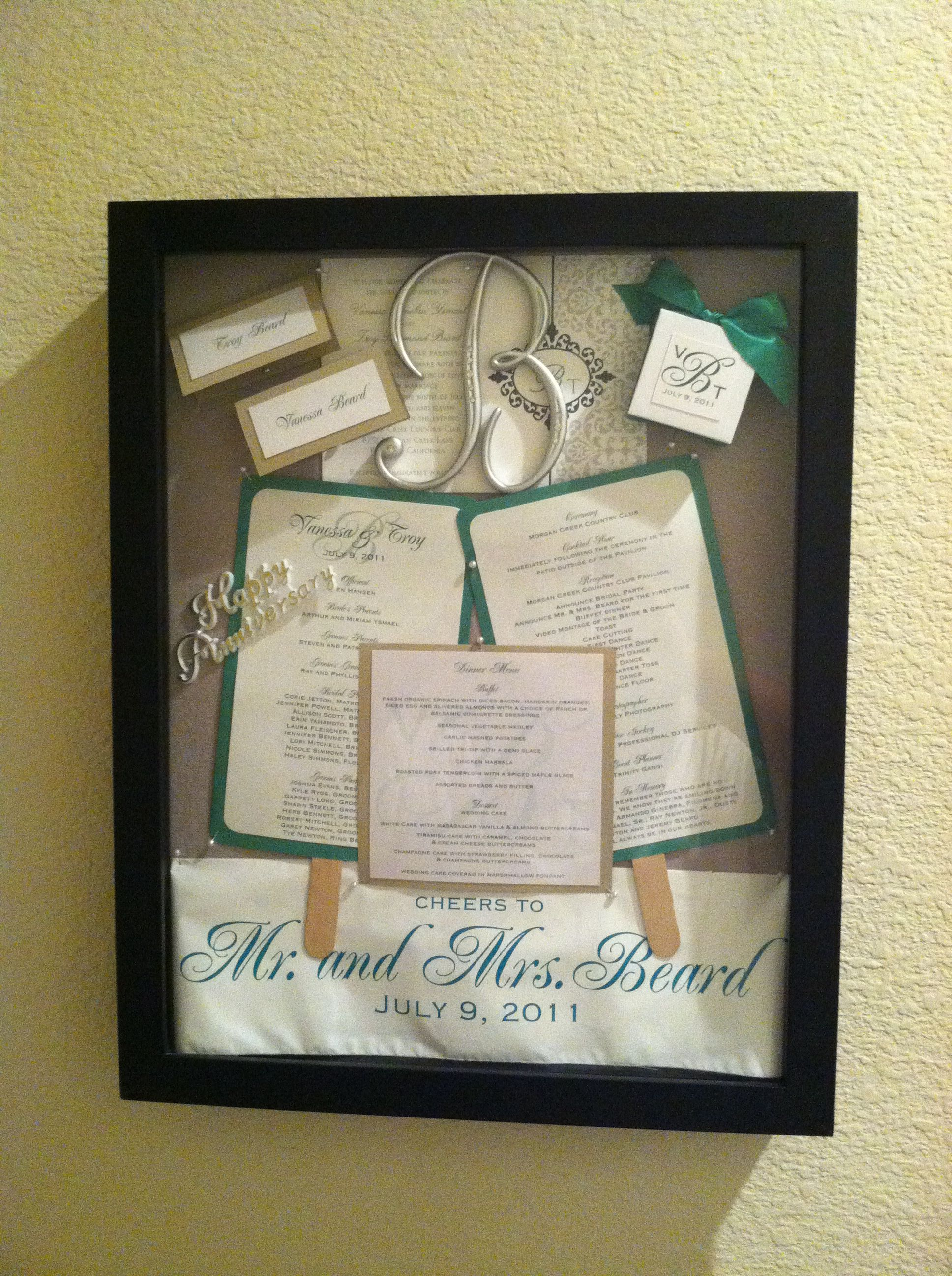 Our wedding memory shadow box with our wedding invitation program our wedding memory shadow box with our wedding invitation program menu name cards stopboris Image collections