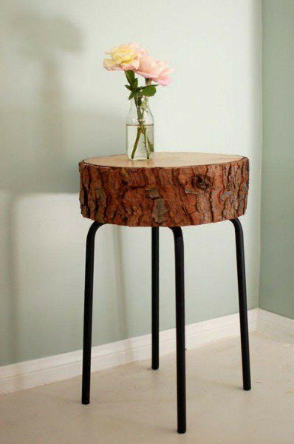 Tisch aus Baumstamm metall füße