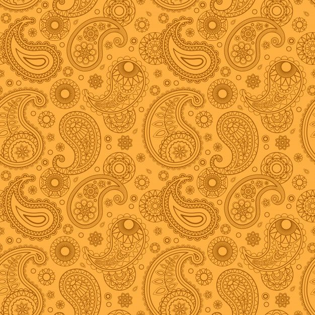 Yellow Color Arabic Paisley Pattern in 2020 Paisley