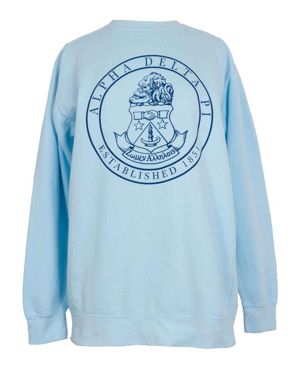 Alpha Delta Pi Crest Fleece Sweatshirt Adpi Crest Sweat Shirt Bulk Discount Shirt Designs Sweatshirt Fleece Alpha Delta Pi [ 1200 x 969 Pixel ]