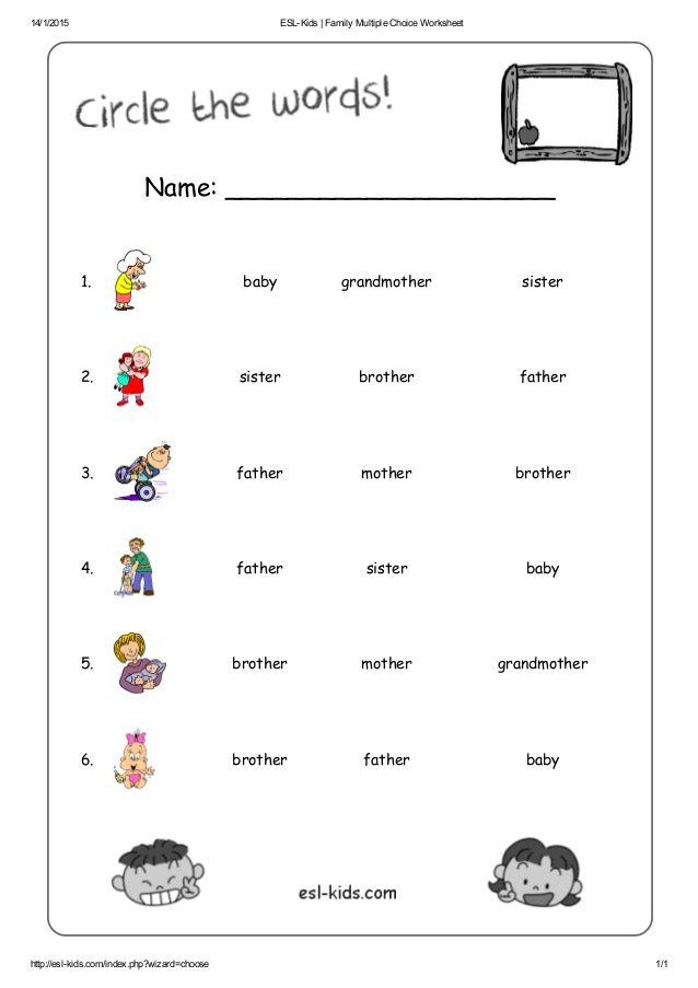 Esl Kids Family Multiple Choice Worksheet English Worksheets For Kids,  English Lessons For Kids, Learning English For Kids