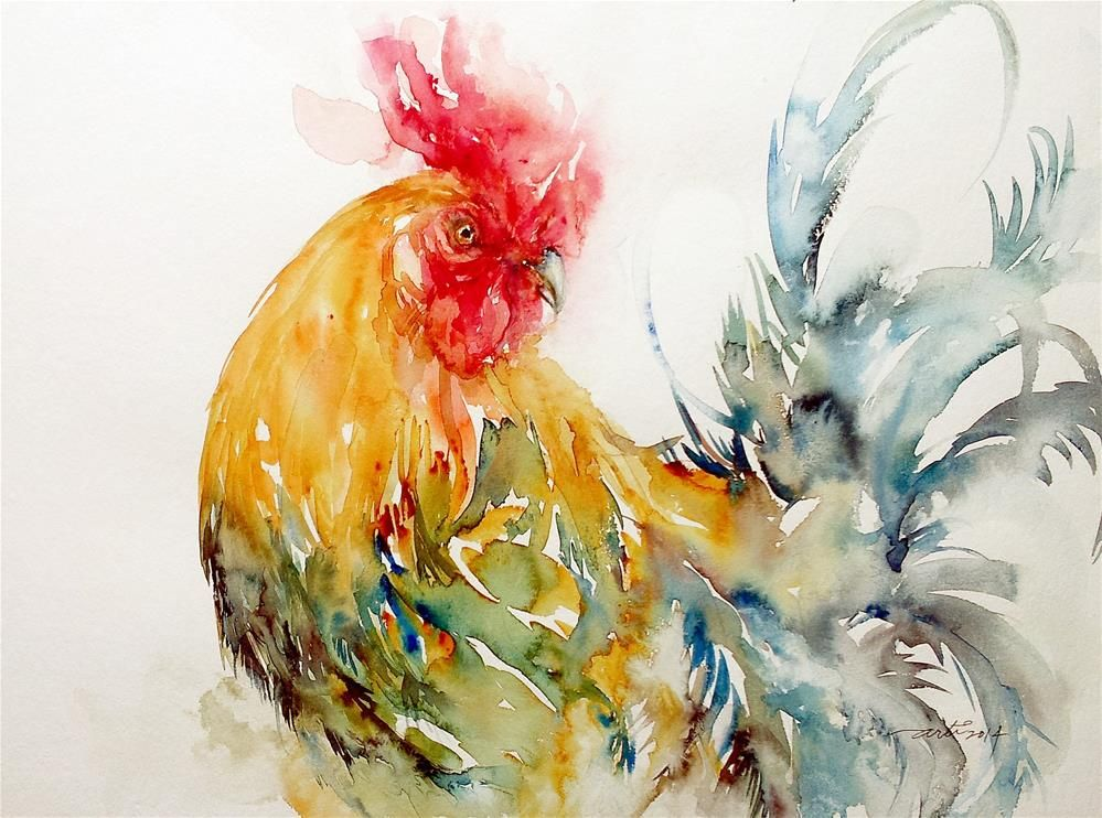 """Dazzler the Rooster"" original fine art by Arti Chauhan"