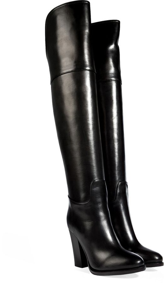 Black | Leather over the knee boots
