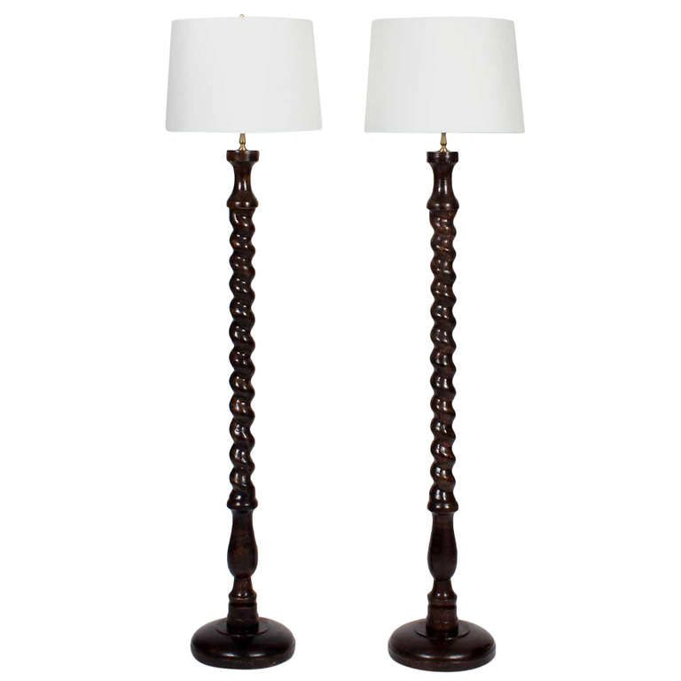 Pair of carved wood barley twist floor lamps floor lamp modern pair of carved wood barley twist floor lamps from a unique collection of antique and mozeypictures Choice Image