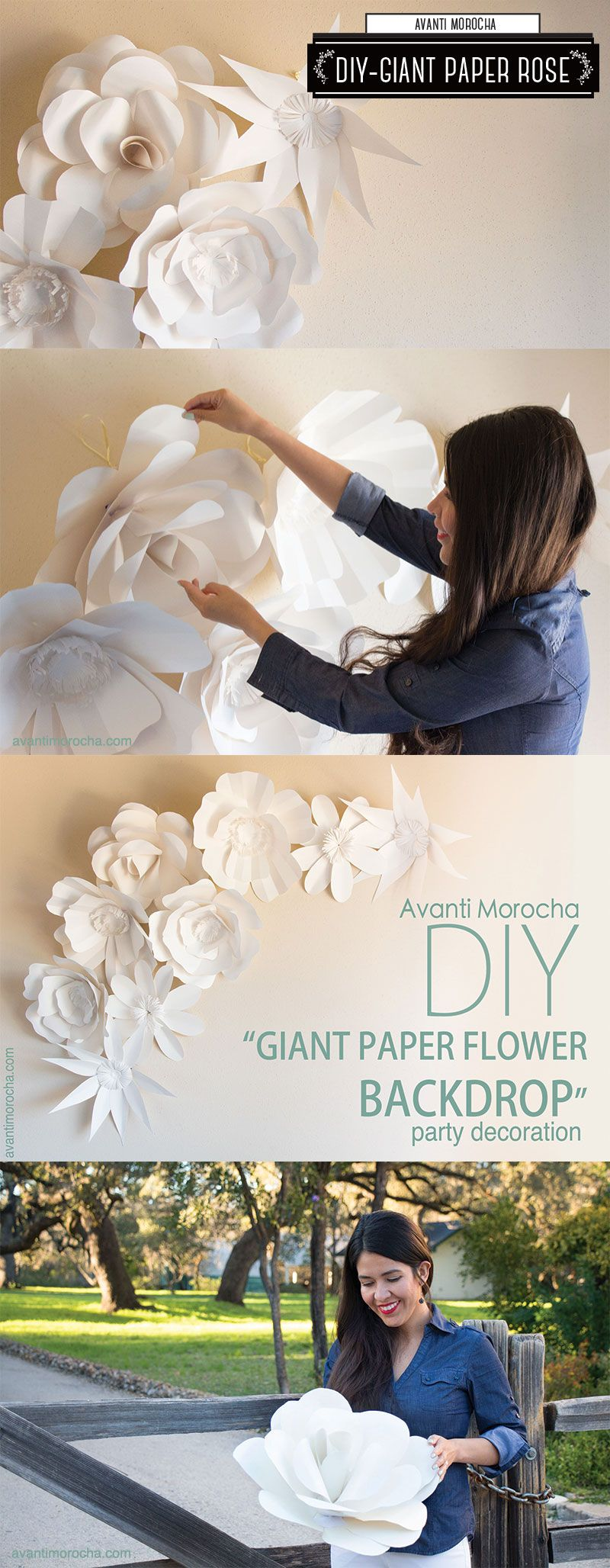 DIY Giant Paper Flower Backdrop / Mural de Flores Gigante / Weddings Bodas. Download the flowers templates from my blog avantimorocha.com or buy them with one click on my Etsy shop https://www.etsy.com/shop/AvantiMorochaDIYs  Please don't forget to share your creations on my Facebook page https://www.facebook.com/La...  or tag me on Instagram @avantimorocha_1 I'd love to see them :)