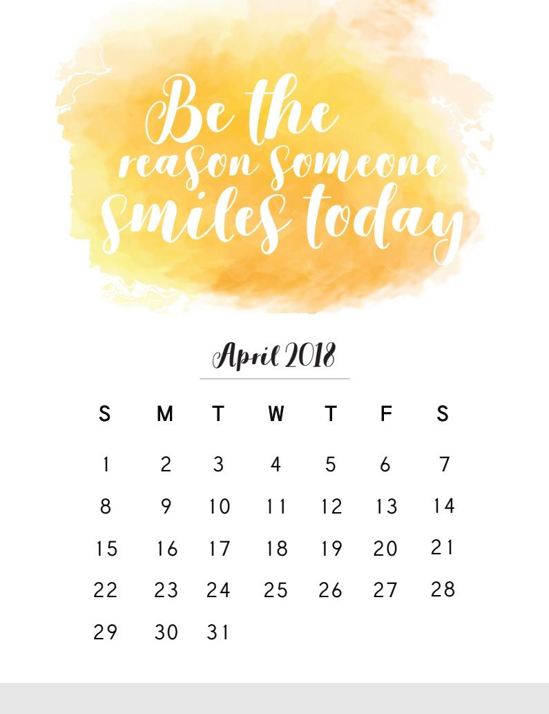 April 2018 Calendar With Inspirational Quotes Ide