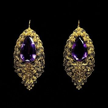 Earrings. 1820, England. Gold and Amethyst.