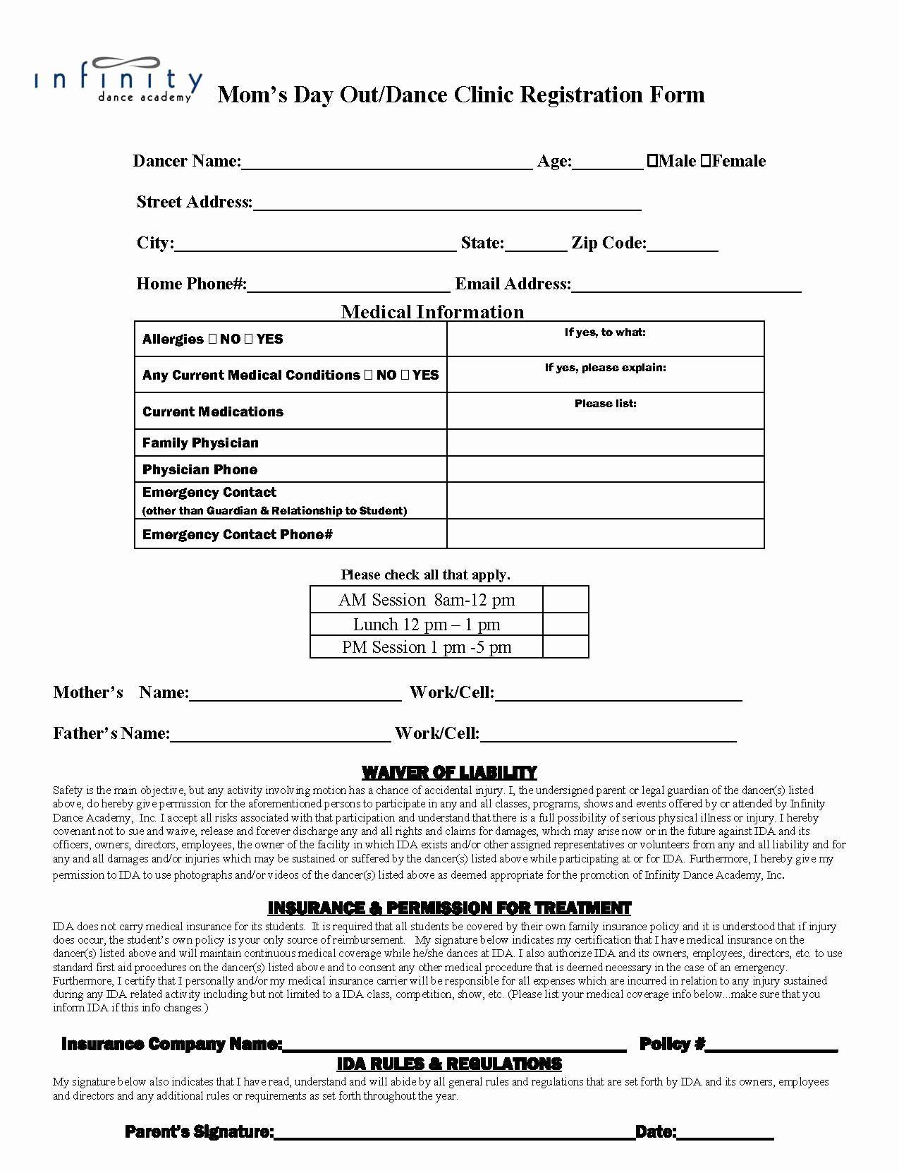 Dance registration form template new dance school
