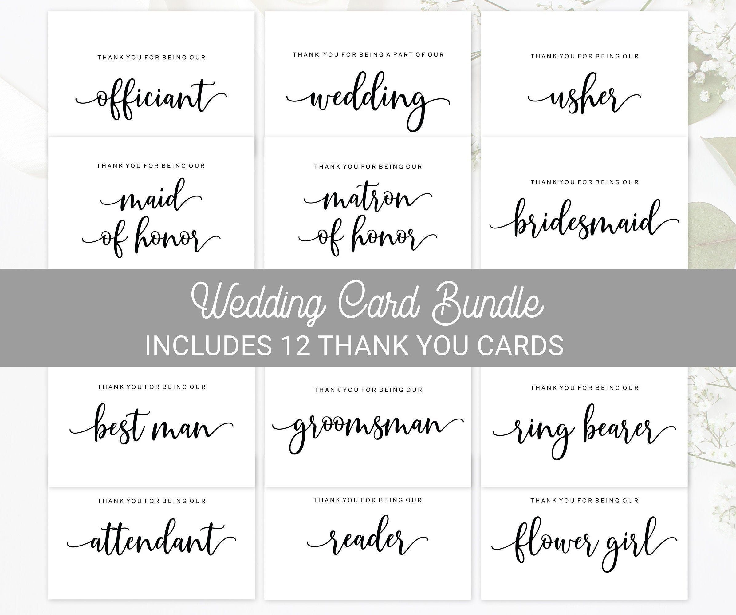 Printable Wedding Party Thank You Card Bundle Wedding Thank Etsy Bridesmaid Thank You Wedding Printables Thank You Cards