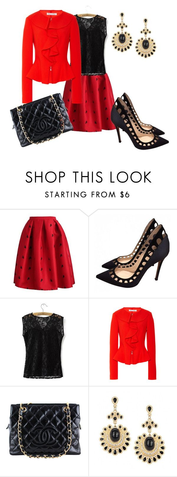 """""""Untitled #950"""" by cookmary ❤ liked on Polyvore featuring Gianvito Rossi, Oscar de la Renta and Chanel"""