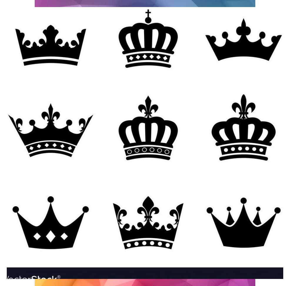 Set Of 9 Crown Vector Silhouette Symbols Fully Editable Eps10 Download A Free Crown Download Editable Crown Tattoo Design Crown Silhouette Crown Art