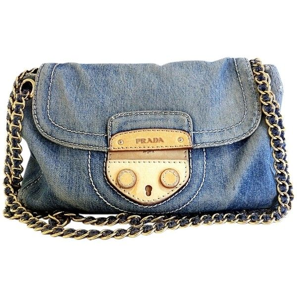 Pre Owned Prada Denim In Avio Shoulder Bag Blue Shoulder Bags Women Bags Fashion Shoulder Strap Bag