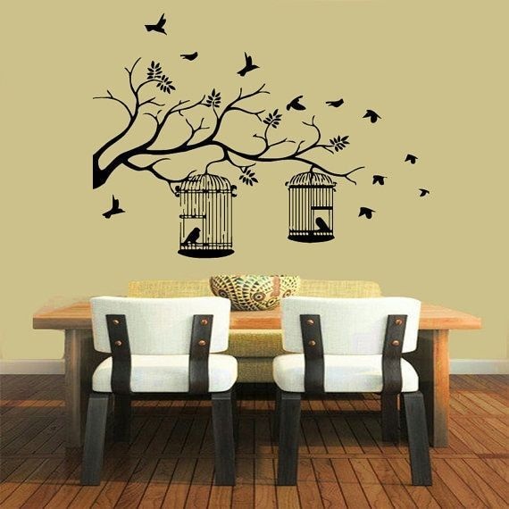 Birds Flying Bird Cage Floral Style Vinyl Sticker Home Wall Art ...