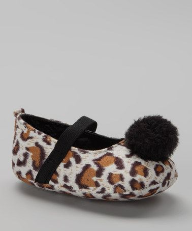 Take a look at this White Leopard Pom-Pom Flat by L'Amour Shoes on #zulily today!