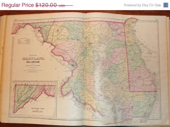 ON SALE Antique Map of Maryland from GM Hopkins by 9MilesOfWonder