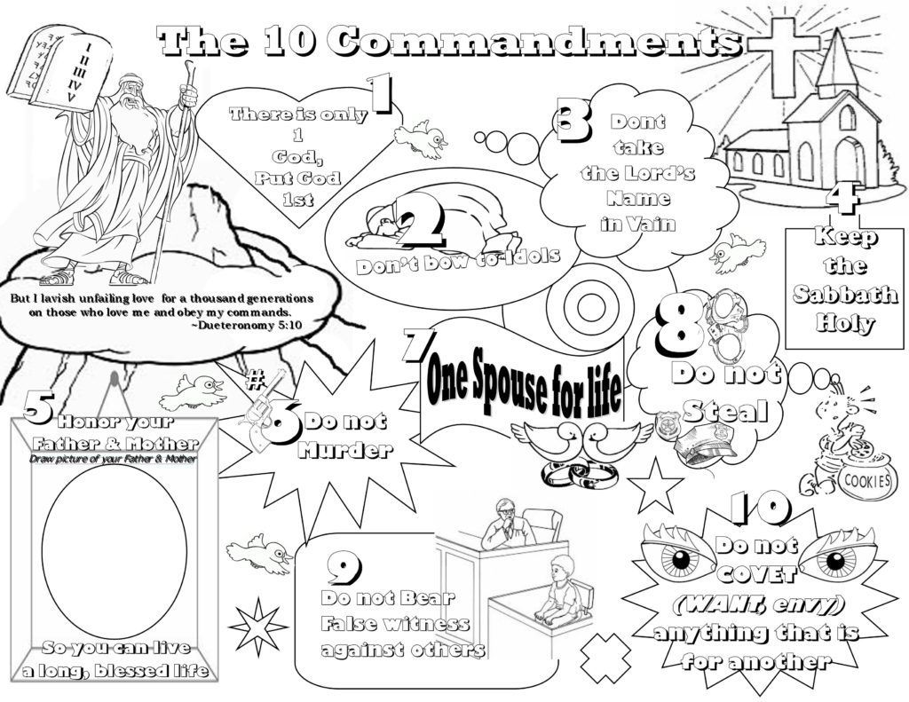 Ten Commandments For Kids Coloring Pages High Quality