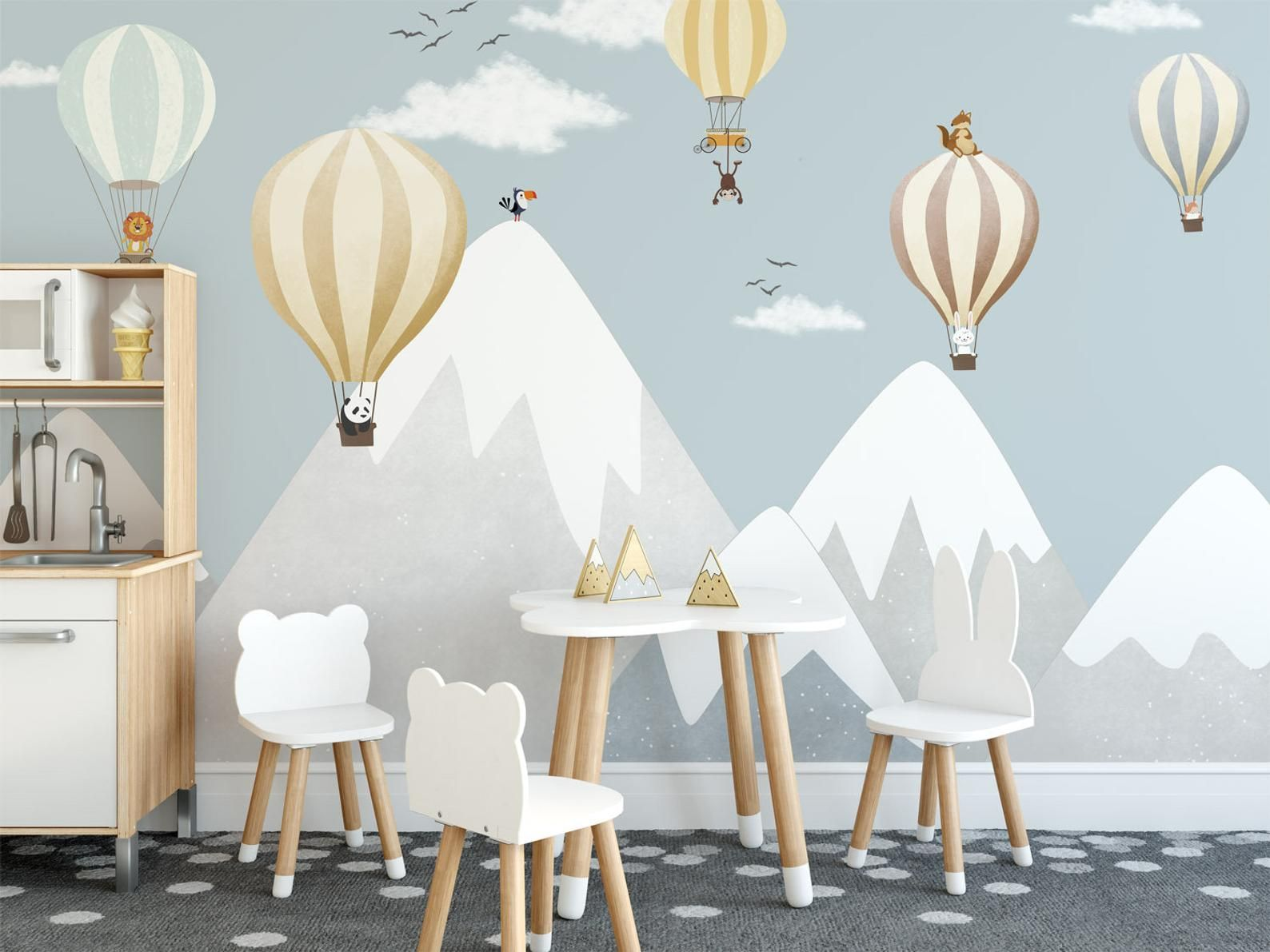 Photo of snow mountain nursery decor safari animals balloon wallpaper gray and blue mountain kids room wall m