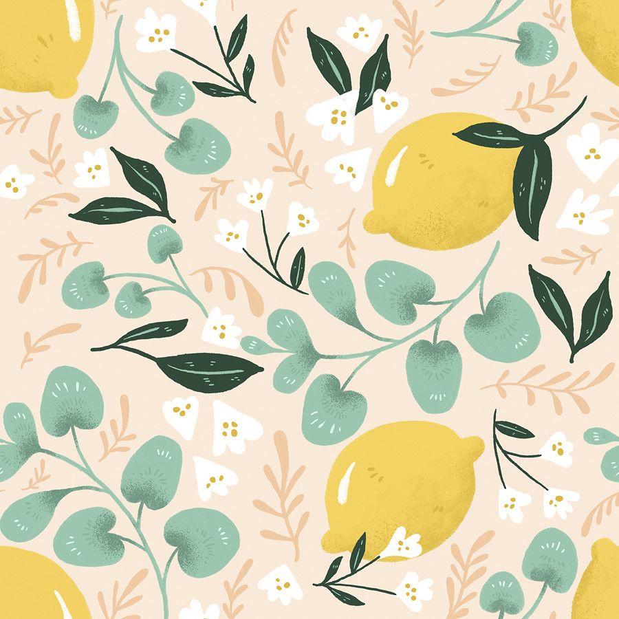 Lovely Lemons Floral Wallpaper Removable Wallpaper Wallpaper