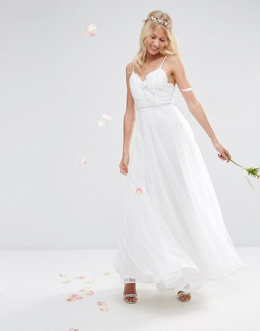15b88250b2f Image 4 of ASOS BRIDAL Embroidered Cami Mesh Maxi Dress