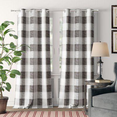 Laurel Foundry Modern Farmhouse Rosenblum Plaid Blackout Grommet Curtain Panels Colour Grey Size 38 W X 63 L In 2020 Panel Curtains Colorful Curtains Curtains