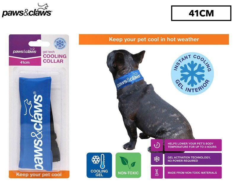 Paws Claws Small Gel Tech Cooling Collar Blue Giant Cat