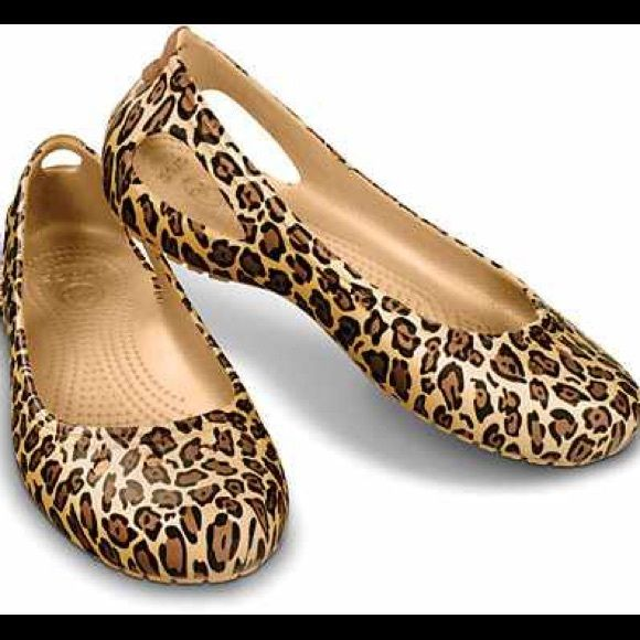 Adorable leopard crocs  Brand new with tags. Size 9W crocs Shoes Flats & Loafers
