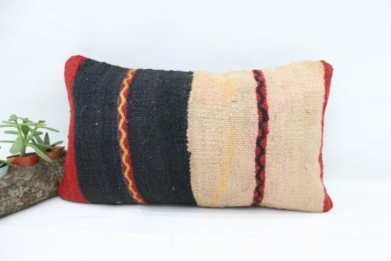 Turkish Kilim Pillow, 12x20 Navajo Pillow,Lumbar Pillow Covers, Striped Pillow, Red Pillow, Handmade
