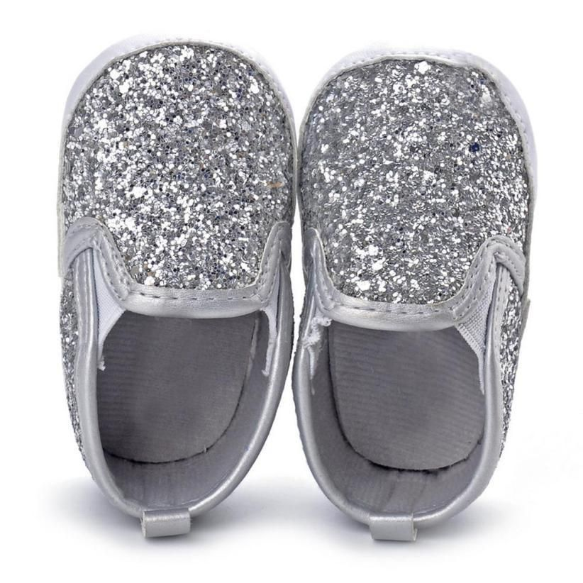 baby girl Silver Sequin Crib Shoes 592e906f4107