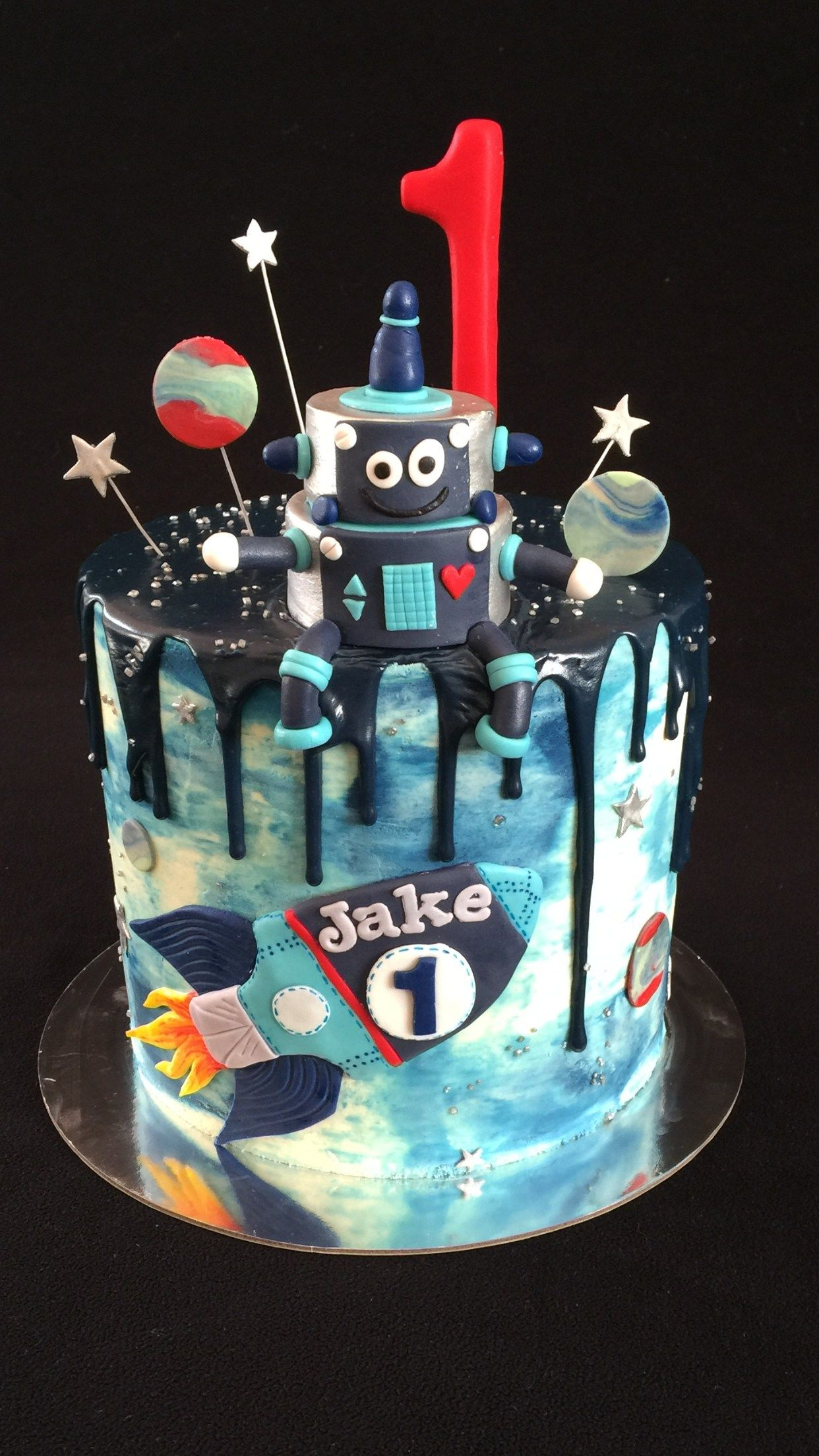 Photo of Robot Birthday Cake Rocket Robot Stars And Planets Drip Cake For A 1st Birthday On – entitlementtrap.com