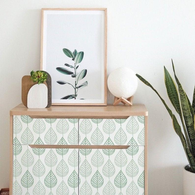 Rinnova le tue pareti con immagini cult. Furniture Decals Vintage Leaves Furniture Stickers Vinyl Etsy Carta Adesiva Carta Da Parati Decorazione Armadio