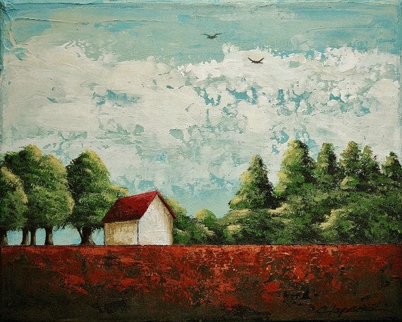 Red Roof Barn Painting Green Trees Image Landscape Painting